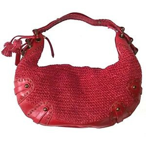 Isabella Fiore LARGE Woven Red Leather Tassel Hobo